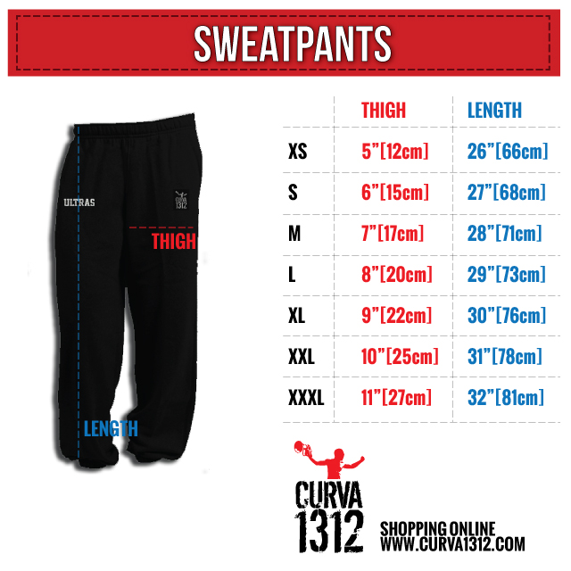 Sweatpants size chart