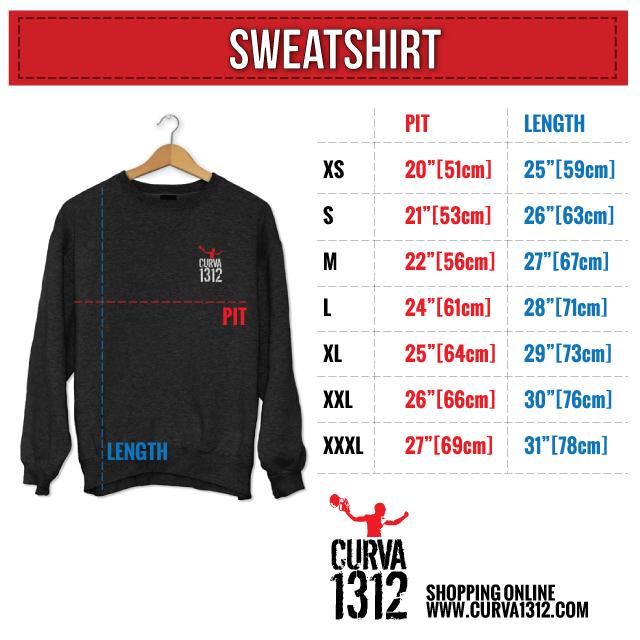 Sweatshirt size chart