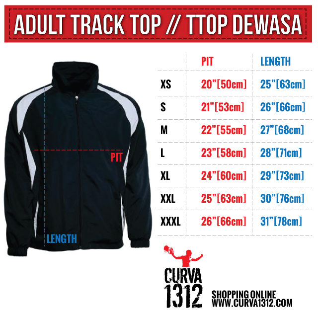 Track top size chart